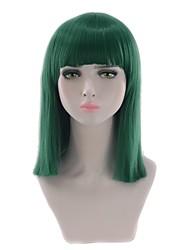 billige -Syntetiske parykker Kinky Glat Stil Mellemdel Lågløs Paryk Grøn Mint Grøn Syntetisk hår 14 inch Dame Fest Grøn Paryk Medium Længde Naturlig paryk