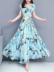 Недорогие -Жен. С летящей юбкой Платье Цветочный Шифон V-образный вырез Макси