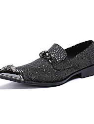 cheap -Men's Novelty Shoes Nappa Leather Spring / Fall & Winter Casual / British Loafers & Slip-Ons Non-slipping Gradient Black / Wedding / Party & Evening
