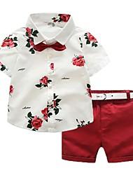 tanie -Dzieci / Brzdąc Dla dziewczynek Aktywny Solidne kolory / Nadruk Krótki rękaw Regularny Regularny Bawełna / Poliester Komplet odzieży Czerwony