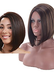 저렴한 -인조 합성 가발 곱슬머리 스트레이트 스타일 중간 부분 캡 없음 가발 브라운 다크 브라운 / 골든 블론드 인조 합성 헤어 12 인치 여성용 여성 브라운 가발 짧음 내츄럴 가발