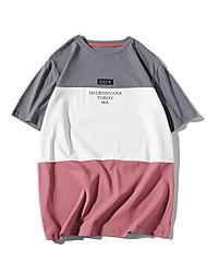 economico -T-shirt Per uomo Collage, Monocolore / Alfabetico Nero XL