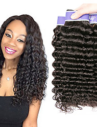 billige -3 Bundler Brasiliansk hår Bølget Dyb Bølge Ubehandlet Menneskehår 100% Remy Hair Weave Bundles Hovedstykke Menneskehår, Bølget Bundle Hair 8-28 inch Sort Naturlig Farve Menneskehår Vævninger Sexet