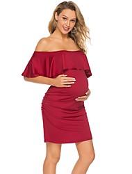 זול -עד הברך אחיד - שמלה צינור בסיסי בגדי ריקוד נשים