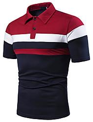 Недорогие -Муж. Пэчворк Размер ЕС / США - Polo Рубашечный воротник Контрастных цветов Красный