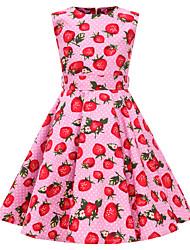 hesapli -Çocuklar Genç Kız Vintage / sevimli Stil Meyve Desen Kolsuz Diz-boyu Pamuklu Elbise Doğal Pembe