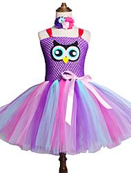 お買い得  -子供 / 幼児 女の子 甘い / かわいいスタイル 虹色 メッシュ ノースリーブ 膝丈 スパンデックス ドレス ピンク