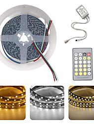 preiswerte -brelong® 5m flexible led-lichtstreifen 600 leds smd5025 1 24keys fernbedienung warmweiß / weiß zuschneidbar party dekorativ 12v 1pc