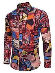 Недорогие -Муж. С принтом Рубашка Геометрический принт Красный XXXL