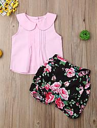 hesapli -Bebek Genç Kız Boho Çiçekli Desen Kolsuz Normal Pamuklu / Polyester Kıyafet Seti Doğal Pembe