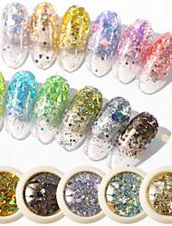 halpa -6 pcs Minityyli / Paras laatu Glitter Paljetti Käyttötarkoitus Sormen kynsi Muoti Luova kynsitaide Manikyyri Pedikyyri Päivittäin Tyylikäs / Taiteellinen