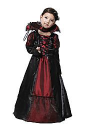 Недорогие -Вампиры Косплэй Kостюмы Детские Девочки Косплей Хэллоуин Хэллоуин Карнавал Маскарад Фестиваль / праздник Полиэстер Красный + черный Карнавальные костюмы Однотонный