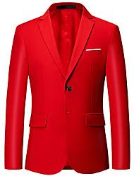 Недорогие -Муж. Офис Классический Весна & осень Обычная Куртка, Однотонный Лацкан с тупым углом Длинный рукав Полиэстер Желтый / Винный / Светло-синий