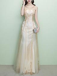 economico -Linea-A Con decorazione gioiello Lungo Tulle / Con strass Vestito con Lustrini / Dettagli con cristalli di LAN TING Express