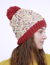 voordelige -Dames Actief Standaard leuke Style Acryl,Kleurenblok Floppy hoed-Herfst Winter Oranje Beige Geel
