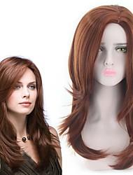 billige -Syntetiske parykker Bølget Stil Mellemdel Lågløs Paryk Brun Lysebrun Syntetisk hår 22 inch Dame Dame Brun Paryk Lang Naturlig paryk