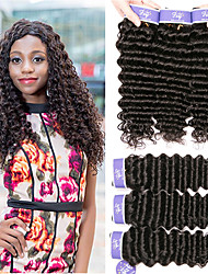 cheap -6 Bundles Peruvian Hair Deep Curly Unprocessed Human Hair Natural Color Hair Weaves / Hair Bulk Bundle Hair One Pack Solution 8-28 inch Natural Color Human Hair Weaves Extender Soft Hot Sale Human