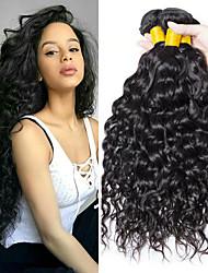 Недорогие -3 Связки Бразильские волосы Волнистые человеческие волосы Remy Человека ткет Волосы Пучок волос Накладки из натуральных волос 8-28 дюймовый Естественный цвет Ткет человеческих волос