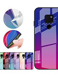Недорогие -Кейс для Назначение Huawei Mate 10 pro / Mate 10 lite / Huawei Mate 20 lite Защита от удара Кейс на заднюю панель Градиент цвета Твердый ТПУ / Закаленное стекло