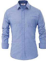 cheap -Men's Shirt - Solid Colored Blue L