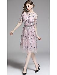 preiswerte -A-Linie Schmuck Knie-Länge Tüll Kleid mit Stickerei durch LAN TING Express