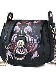 Χαμηλού Κόστους -Γυναικεία Τσάντες Πολυεστέρας / PU Σταυρωτή τσάντα Σχέδιο / Στάμπα / Αλυσίδα Συμπαγές Χρώμα Θαλασσί / Λευκό / Μαύρο