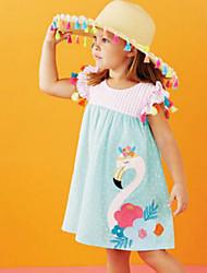 お買い得  -子供 / 幼児 女の子 かわいいスタイル 鳥 刺繍 半袖 膝丈 コットン / ポリエステル ドレス ライトブルー
