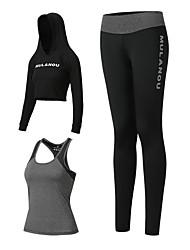 voordelige -3 stuks Dames Yoga pak Zwart Roze Sport Effen Kleur Sportoutfits Yoga Gym training Lange mouw Sportkleding Ademend Sneldrogend Zweetafvoerend Power Flex Hoge Elasticiteit