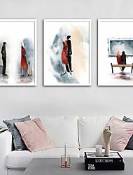 cheap -Framed Canvas Framed Set - People Cartoon Plastic Illustration Wall Art