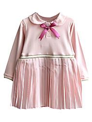 זול -שמלה שרוול ארוך אחיד בנות ילדים / פעוטות