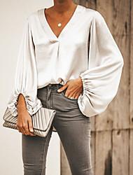baratos -Mulheres Camiseta Sólido Branco XL