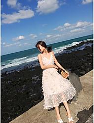 Χαμηλού Κόστους -Γραμμή Α Λαιμόκοψη V Κάτω από το γόνατο Σιφόν Φόρεμα με Φτερά / Γούνα με LAN TING Express