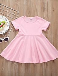 Χαμηλού Κόστους -Παιδιά / Νήπιο Κοριτσίστικα Ενεργό / Βασικό Μονόχρωμο Κοντομάνικο Ως το Γόνατο Βαμβάκι Φόρεμα Ανθισμένο Ροζ