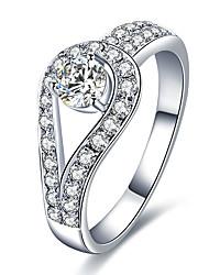 baratos -Mulheres Branco Anel de banda Anel Anéis para Falanges Pedaço de Platina Rosa Folheado a Ouro Imitações de Diamante Estiloso Simples Europeu Coreano Elegante Anéis Jóias Prata Para Casamento Presente