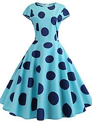 رخيصةأون -فستان نسائي متموج عتيق أساسي طباعة طول الركبة منقط ألوان متناوبة
