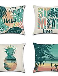 cheap -4 pcs Cotton / Linen Pillow Cover, Leaf Coastal Holiday Mediterranean Throw Pillow