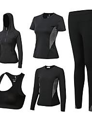 voordelige -3 stuks Dames Yoga pak Fuchsia Groen Grijs Sport Kleurenblok Sportoutfits Yoga Gym training Lange mouw Sportkleding Ademend Sneldrogend Zweetafvoerend Power Flex Hoge Elasticiteit