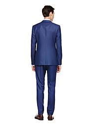 billiga -Svart / Mörk Marin / Färgat Grå Enfärgad Skräddarsydd passform Kostym - Trubbig Singelknäppt Två knappar