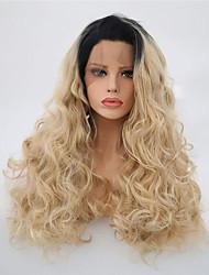 billige -Syntetisk Lace Front Parykker Krøllet Stil Side del Blonde Front Paryk Blond Sort / Blonde Syntetisk hår 22-24 inch Dame Justerbar / Varme resistent / Fest Blond Paryk Lang Naturlig paryk