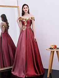 billige -A-linje Skulderfri Gulvlang Satin Kjole med Applikeret broderi / Bælte / bånd ved TS Couture®