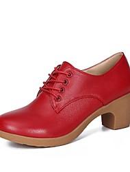رخيصةأون -نسائي جلد ظبي الربيع / الخريف كاجوال أوكسفورد كعب متوسط أمام الحذاء على شكل دائري أسود / بني / أحمر
