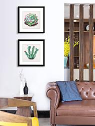 Недорогие -Масляная картина в раме С принтом - ботанический Полистирен Постеры Предметы искусства