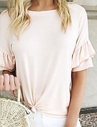 cheap -Women's Blouse - Solid Colored Blushing Pink M