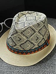 halpa -Mélange Lin / Coton hatut / Headpiece kanssa Ruutukuvio 1 Kappale Arki-asut / ulko- Päähine