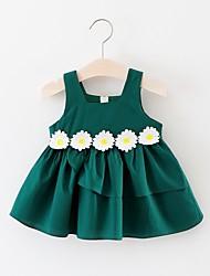 お買い得  -幼児 女の子 活発的 / かわいいスタイル フラワー プリーツ ノースリーブ 膝丈 コットン ドレス グリーン