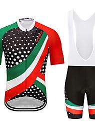 お買い得  -MUBODO 男性用 半袖 ビブショーツ付きサイクリングジャージー 緑 / ブラック バイク スーツウェア 高通気性 速乾性 反射性ストリップ スポーツ メッシュ マウンテンサイクリング ロードバイク 衣類 / 伸縮性あり