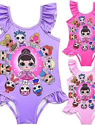 ราคาถูก -ชุดว่ายน้ำ ชุดว่ายน้ำชุดคอสเพลย์ สาวบี สำหรับเด็ก คอสเพลย์และคอสตูม คอสเพลย์ วันฮาโลวีน สีม่วง / สีบานเย็น / สีชมพู การ์ตูน Printing Polyster เด็กผู้หญิง วันคริสต์มาส วันฮาโลวีน เทศกาลคานาวาล