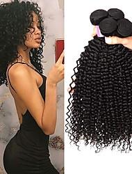 Недорогие -4 Связки Бразильские волосы Kinky Curly человеческие волосы Remy Человека ткет Волосы Пучок волос Накладки из натуральных волос 8-28inch Естественный цвет Ткет человеческих волос / Без запаха