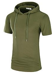 levne -Pánské - Jednobarevné Tričko Černá XL