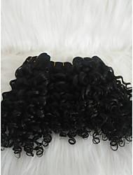 halpa -Letitetty Kihara Pidentäjä Aidot hiukset 3 osainen punokset Musta 14 inch 14 tuumaa Naisten / extention Deitti Brasilialainen
